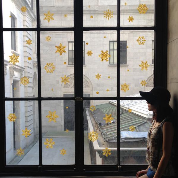 Extraíble copo de nieve de la ventana de la pared decoración del hogar calcomanía de vacaciones de navidad arte de la pared colgando pegatinas murales de arte adorno