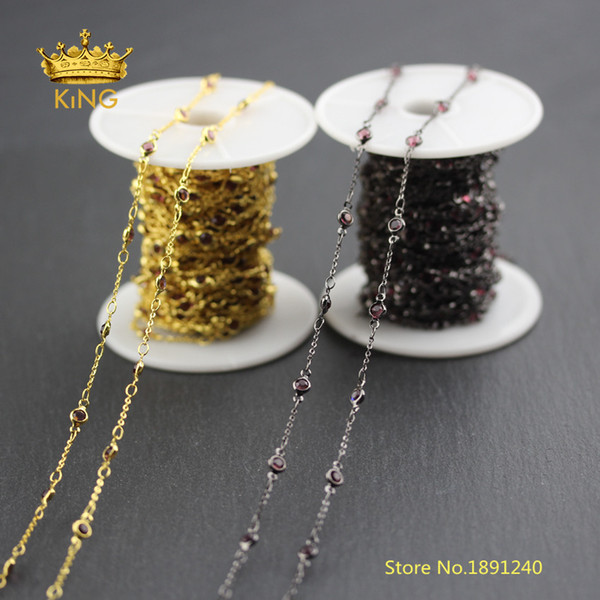 5meter/lot Black Gunmetal/Gold Plating Copper Links Coin Glass Chains,4mm Wine Red/Brown Glass Beaded Chains Fine Jewelry BH47