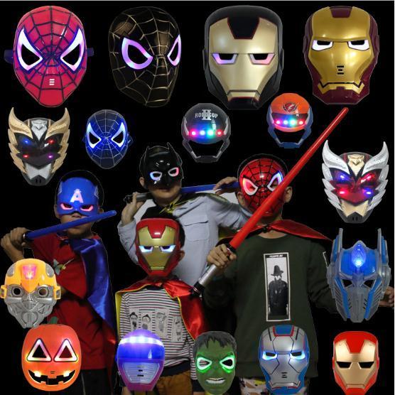 Funny Boys LED Glowing Light Mask hero SpiderMan Captain America Hulk Iron Man Mask For Kids Adults Party Halloween Birthday Kids Cosplay