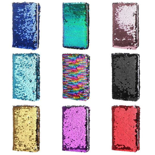 Creative Paillettes Bloc-notes Notebook Glitter Diary Mémos Papeterie Fournitures de bureau Papeterie 78 feuilles Paillettes portables 6pcs / lot