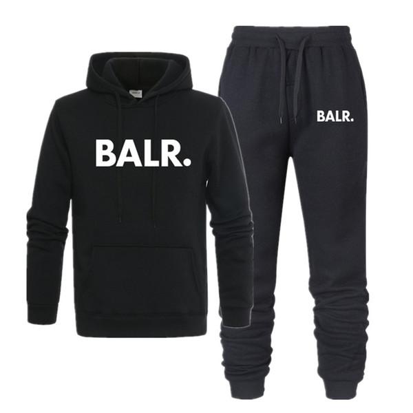 Yeni sıcak İki Adet Set moda kapüşonlu sweatshirt BALR erkek spor hoodie sonbahar erkek marka giyim hoodie + pantolon Setleri