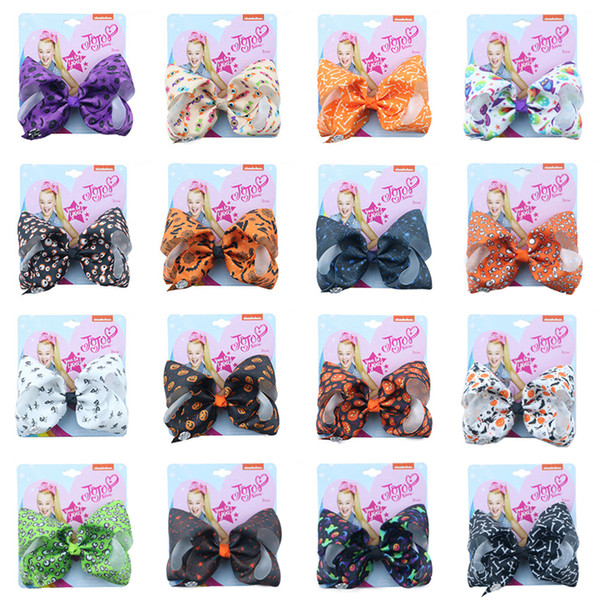 Halloween Styles Jojo Siwa Bows With Clip hair accessories for girls 5Inch jojo siwa hair clips bows Hair Bow wholesale In Stock FSS352