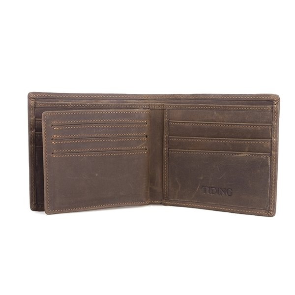 Custom Men Bifold Genuine Leather Wallet With ID Window Wallets Money Bag Small Purse Best Gift Card Holder LX40523