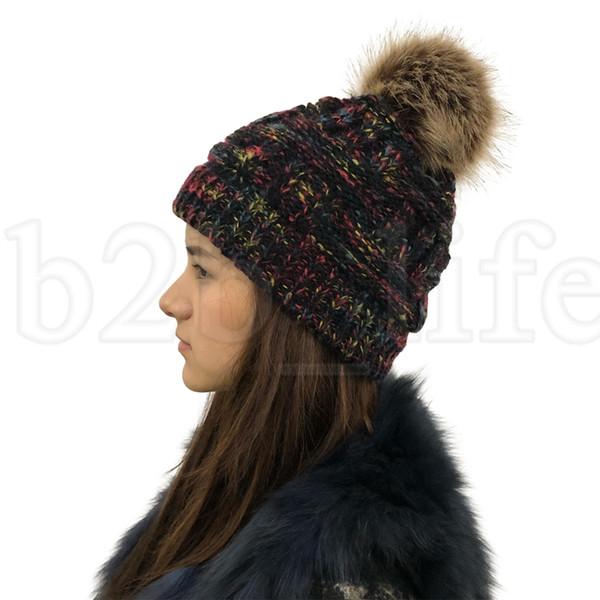 Pompones Sombreros de invierno de punto para mujer Gorros de gorros Sombreros de invierno Gorros de piel de punto Pom Pom LJJK1800