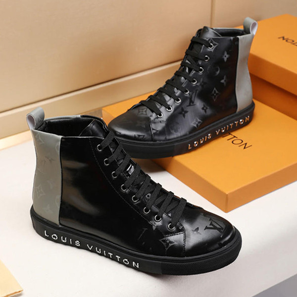 2019 Mens Fashion Boots High Top Men Shoes Bottes Hommes Casual Zapatos de hombre Fashion Shoes Mens Ankle Boots Leather Tattoo Sneaker Boot