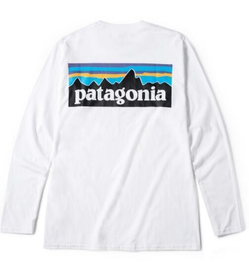 PATAGONIA manga larga de cuello redondo camisetas para hombre de la moda Marca Tees Hommes Tops ocasional de las mujeres flojas Tees amantes de la montaña impresión blanca camiseta