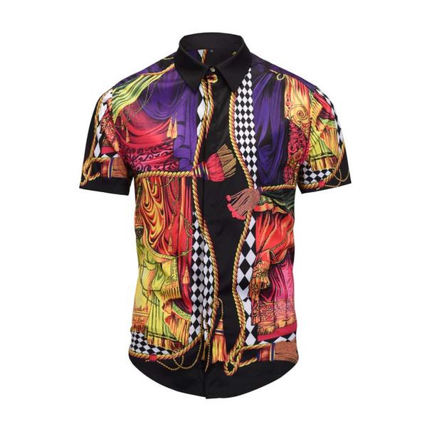 Italy new fashion Brand clothing Dress shirts 3D print Medusa shirts men Short sleeve party club designer tops man nightclub snake shirts