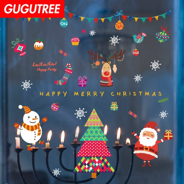 Decorate Home merry christmas new year art wall sticker decoration Decals mural painting Removable Decor Wallpaper G-1267