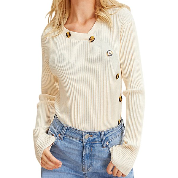 Hot Fashion Design Womens Solid Color O-Neck Knitted Warm long Sleeve Sweater Blouse High Quality Sweater New