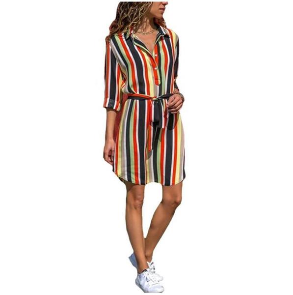 Women Summer Striped Shirt Dress Ladies Casual Long Sleeve Loose Beach Dresses Autumn Fashion Print Party Dress Vestido
