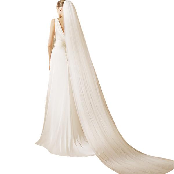 Uzun ucuz peçe tarak ile 2020 düğün aksesuarları gelin peçe Uzun düğün peçe ucuz saç aksesuarları ucuz peçe