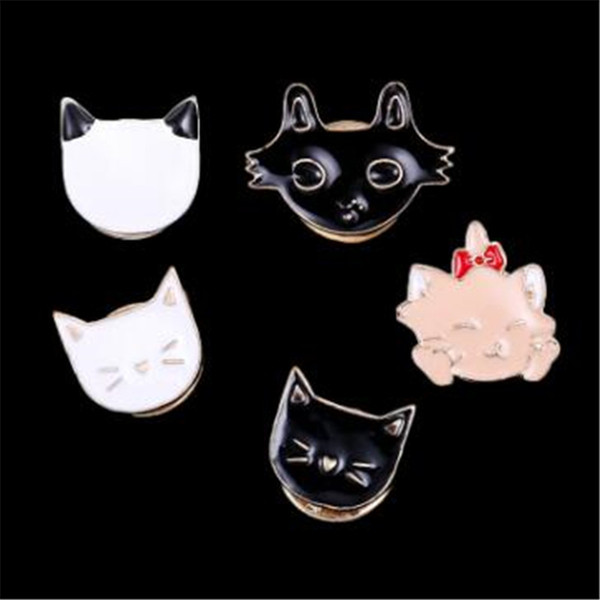 WKOUD Cherry kitten badge collar flower white cat black cat Enamel Lapel Corsage Badge brooch jewelry accessories