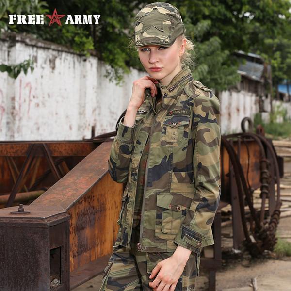 La nueva manera de camuflaje militar mujer abrigo chaqueta de stands otoño chaquetas y abrigos de cuello delgado de la cremallera de la chaqueta de las mujeres Marca Gs-8253B SH190926