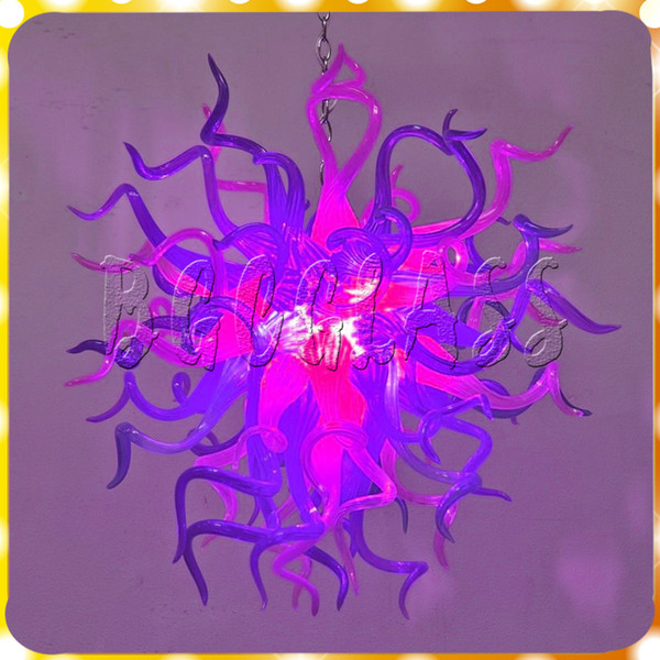 Modern Purple and Red Pendant Led Livingroom Art Deco 100% Mouth Blown Borosilicate Luxury Hand Blown Glass Chandelier Light for Sale