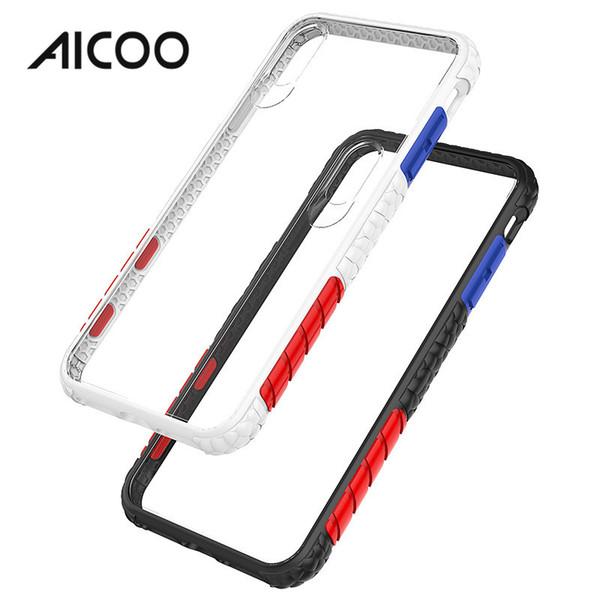 AICOO Kontrast Renkli Telefon Kılıfı kaymaz Darbeye Şeffaf Backboard Siyah Beyaz Çerçeve Telefon Kapak iphone XS Max Samsung S10 5G OPP