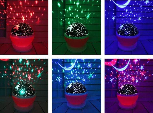 2019 Hot 360 ° Rotary Projecteur Nouveauté Veilleuse Lampe USB Projecteur LED Lampe de table Créer une atmosphère romantique Lampe de bureau romantique