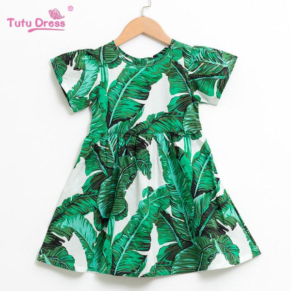 Kids Dresses For Girls Summer Dress Beach Style Floral Print Leaves Party Dress For Girls Vintage Toddler Girl Baby Clothing J190520