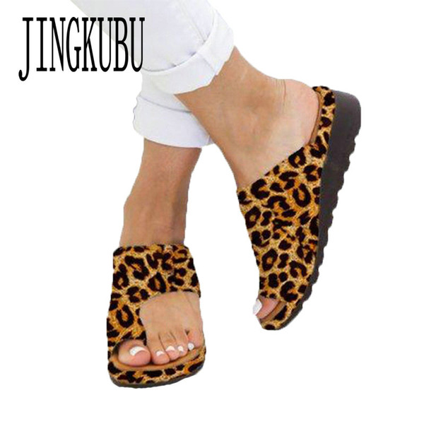 JINGKUBU 2019 Chaussures Femme Mode New Flats Chaussons Wedges ouvert Toe Chaussures cheville plage Chaussons Roman Sandales Zapatos de mujer