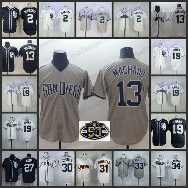 huge selection of 8bdd9 617c4 2019 Custom Padres Jerseys 13 Manny Machado 19 Tony Gwynn 4 Wil Myers 34  Rollie Fingers Personalized San Diego Home Away All Stitched Jersey From ...