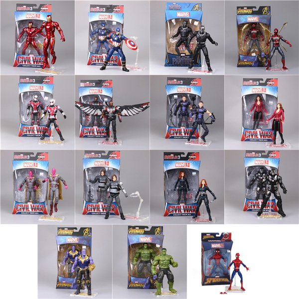 marvel avengers action figures toys 15 designs PVC iron man spiderman thanos hulk anime figure avengers toys with box Kids toys CSS237