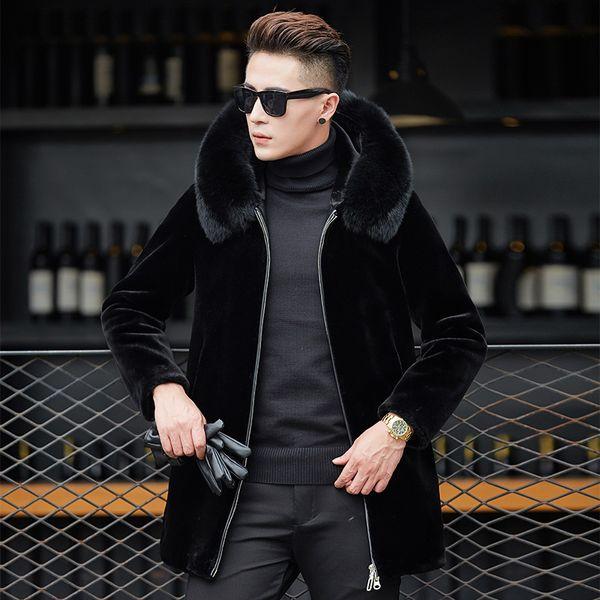 Hooded Fur Trench Coat Men 2019 Otoño Invierno Lujoso cuello de piel de zorro Escudo para hombre Nueva Casual Medio Abrigos de marca