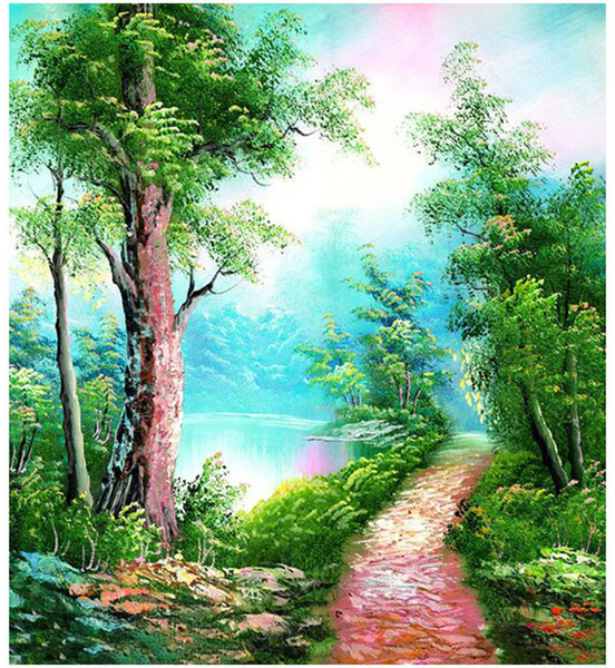 "Kits Paint Adult Hand Painted DIY Painting By Numbers Oil Paint-Green landscape with trees and road 16""x20"""