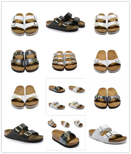 802 Arizona 2019 Hot sell summer Women and men flats sandals Cork slippers unisex casual shoes print mixed colors size 34-47
