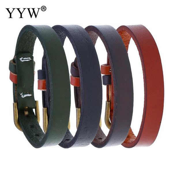 La moda de cuero de imitación pulsera unisex encantos pulsera de brazalete Negro Punk Brown brazalete moda Adornos Hombre Mujer Pulseiras