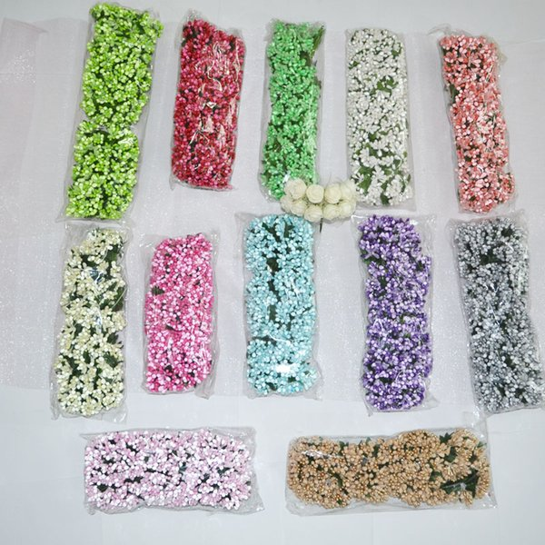 ulberry party artificial flower 144pcs/lot DIY Mulberry Party Artificial Flowers Mini silk Glass Flowers Bouquet Stamen wire box Wedding...