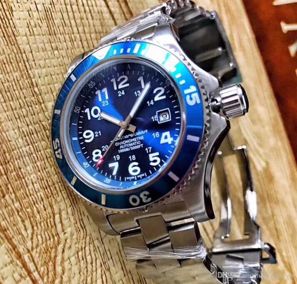 2018 Yeni İzle BRE SUPEROCEAN AB202016 Serisi 43 MM mavi yüz Otomatik Hareketi Orijinal çelik Kayış Bilek erkek Saatler ücretsiz kargo
