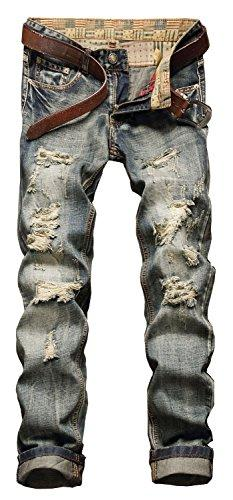 Pantalones vaqueros con cremallera YTD para hombre desgarrados Ripped Distressed Denim Slim Stretch Moto Pants