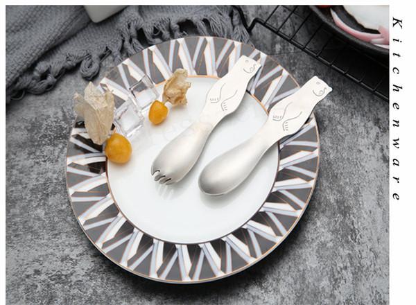 Precioso Oso Polar Cubiertos Cuchara Y Tenedor Cabeza de Oso de Acero Inoxidable para Niños Herramienta de Cocina Nuevo Arrivel