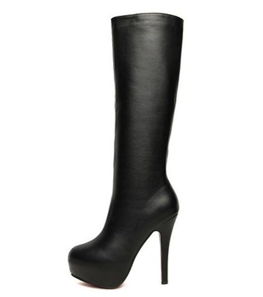 European station winter women's shoes inside waterproof platform side zipper plus hair high boots high heel stiletto sexy boots