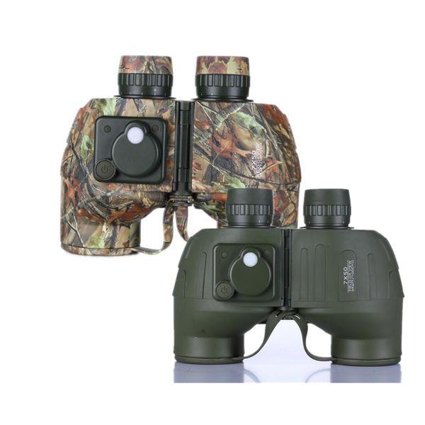 FIRECLUB 7x50 HD Binoculars Non-infrared Compass Waterproof High Power Telescope Outdoor Camouflage Army Green Binoculars