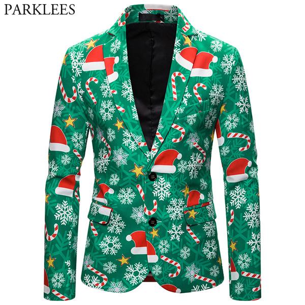 2019 Christmas Blazer Jacket Men 2019 New 3D Xmas Hat Print Men\u0027S Fashion  Suit Party Coat Casual Slim Fit Blazer Buttons Suit Jacket From Yujiu,