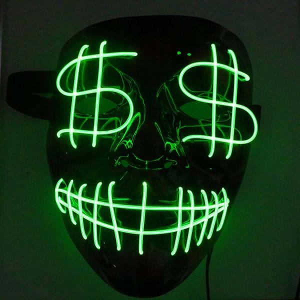 Dia das bruxas Natal LEVOU Máscara Luminosa Dólar Careta Sangrenta EL Partido Fio Máscara Clube Bar DJ Máscaras Brilhantes Máscaras Máscara de Led Completa