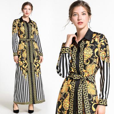 Freies Schiff 2019 Neue Frauen Mode Gestreiften Print Langes Hemd Kleider Dame Lässig Revers A-linie Kleid
