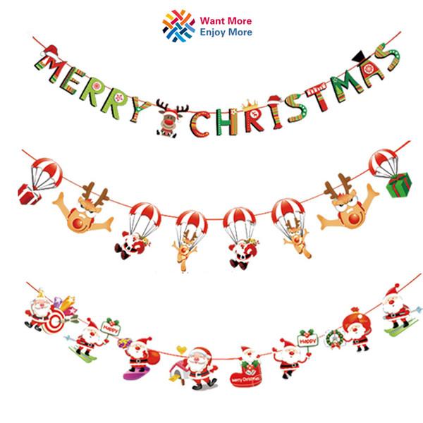 Wall navidad gota colgante adornos de nieve / Calcetines / Casa / bandera de la bandera de Santa Claus Colgante para el hogar Party Decor N