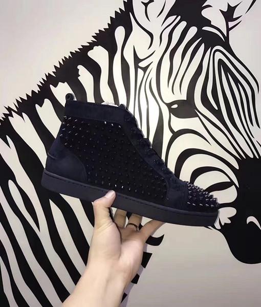 Moda Lüks Tasarımcı Sneakers Klasik Tasarımcılar Ayakkabı Kırmızı Alt Lüks Ayakkabı Moda Marka Çivili Spike Düz Lüks Ayakkabı