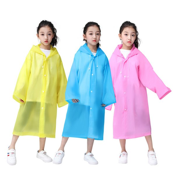 Kids Hooded Transparent Jacket Raincoats Elastic Cuff Rain Coat Poncho Raincoat Cover Long Girl Boy Rainwear 6 colors 50PCS