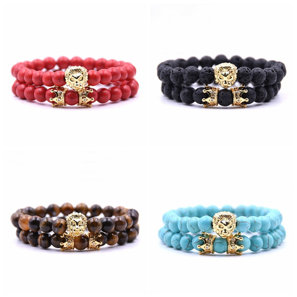 2pc/set animal king lion head red turquoise bangle natural stone crown couple bracelet sets for men hand jewelry accessories men women
