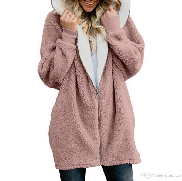 Autumn And Winter Explosions Solid Color Lamb Hair Zipper Cardigan Warm Jacket Plush Sweater(free Shipping)