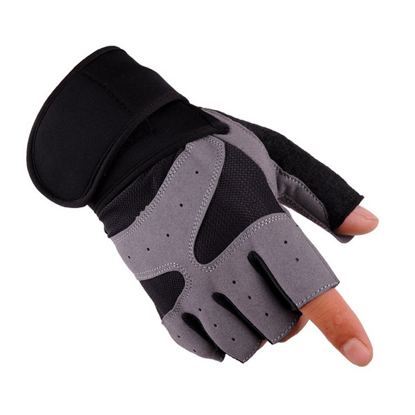 motorcycle gloves Bodybuilding Glove Half Finger Ventilation Non-slip Weightlifting Protect Hand Training Lengthen Cuff Glove