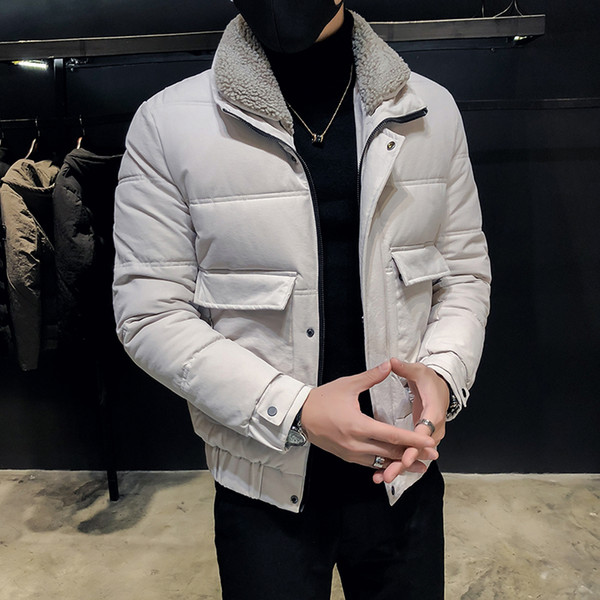 2019 Hair Lapel Cotton Men'S Korean Version Of The Trend Handsome Cotton Jacket 2019 New Winter Warm Jacket Thick Clothing From Bigchange, $101.83 |