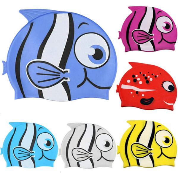 Дети Детские Мальчики мультфильм водонепроницаемый силиконовый бассейн бассейн Hat Swim Cap
