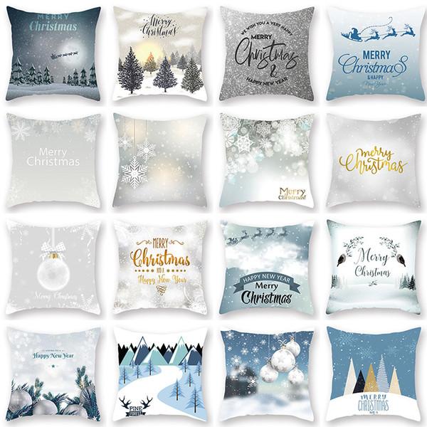 home europe and america christmas snowflake digital print peach skin car pillow cushion