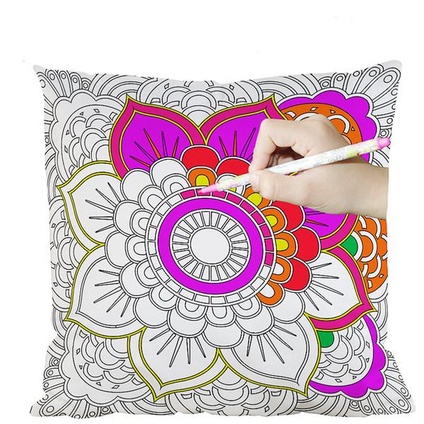 Secret garden color pillow case diy doodle pillow home cushion cover parent-child hand-painted creative gifts,45cm*45cm