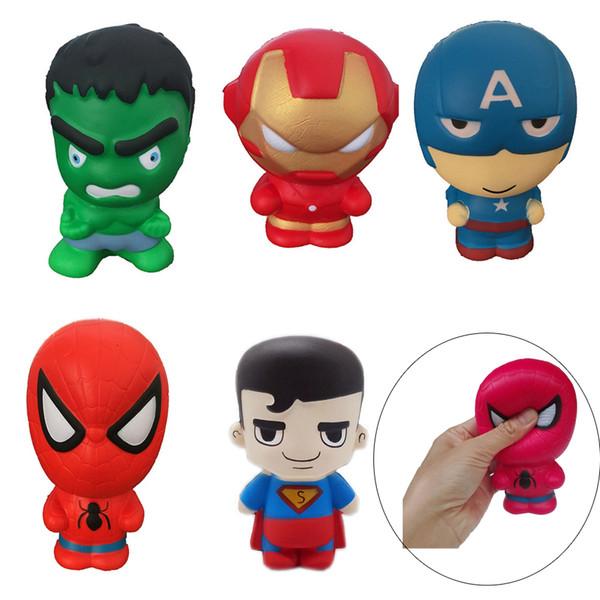 Super Hero Squishies Spielzeug Kawaii Squishy Captain America Spinnenmann Iron Man Hulk 11CM Langsam steigende simulierte Superheld Squeeze Cartoon Spielzeug