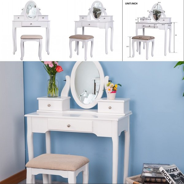 2019 White Vanity Set With Stool Dressing Makeup Table With 3 Drawers  Mirror Bedroom Living Room Decoration From Greatfurnishing, $131.91 |  DHgate.Com