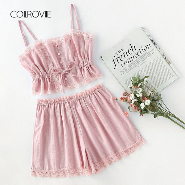 COLROVIE Contrast Lace Cami With Shorts Pajama Set Women Pink Spaghetti Strap Sleeveless Drawstring Waist Cute Sleepwear Y19042803